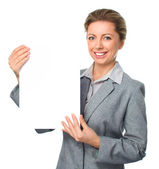 Business woman portrait with blank white banner — Stock Photo