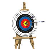 Three arrows on an archery target — Stock Photo
