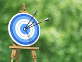 Three arrows on an archery target — Stock Photo