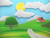 One tree on a grass field illustration — Stock Photo