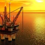Oil platform in the sea — Stock Photo