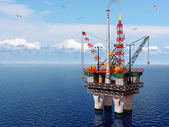 Oil platform in the sea — Stock Photo