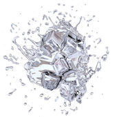 Splashing icecubes — Stock Photo
