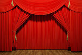 Red stage theater velvet drapes — Stock Photo