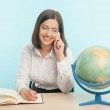 Business woman with the globe — Stock Photo #49956307