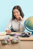 Business woman with the globe — Stock Photo