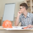 Two young architectures working at projective drawing — Stock Photo #50318813