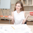 Two young architectures working at projective drawing — Stock Photo #50319081