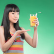 Asian woman and juice — Stock Photo #51363755
