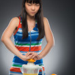 Asian woman and juice — Stock Photo