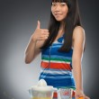 Asian woman and juice — Stock Photo #51368307