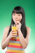 Asian woman and juice — Foto de Stock