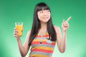 Asian woman and juice — ストック写真