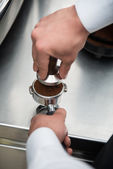 Barista and coffee machine — ストック写真