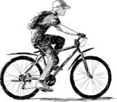 Boy riding a bike — Stock Vector