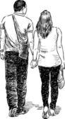 Paar am fuß — Stockvektor