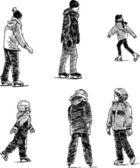 People on roller skates — Stockvector