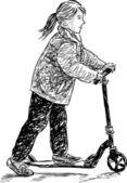 Little girl on a scooter — Stockvector
