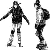 People on roller skates — Stok Vektör