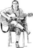 Chitarrista di strada — Vettoriale Stock