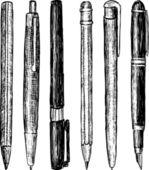 Conjunto bolígrafo y lápices — Vector de stock