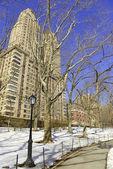 Снег в центральном парке и Манхэттен, Нью-Йорк Сити — Стоковое фото