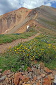 Trail towards Redcloud and Sunshine Peaks in the San Juan Mountains, Colorado Rockies — Stock Photo