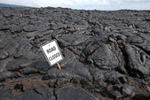 Lava Flow Closes Road — Stock Photo