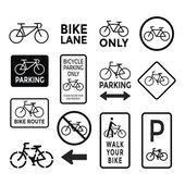 Czarno-białe znaki rowerów wektor zestaw — Wektor stockowy