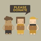 Please donate boy&girl vector — Stock Vector
