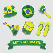 Let's go Brazil icon for cheering fan set vector — Stock Vector