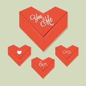 Origami heart red paper vector — Vector de stock