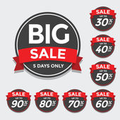Big Sale tags with Sale up to 30 - 90 percent text on — Stock Vector