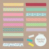 Vector collectie van leuke patroon washi tape strips — Stockvector