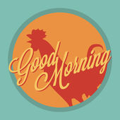 Rooster and sun Good morning vintage style — Vector de stock