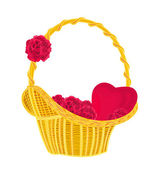Heart and roses in a basket — Vettoriale Stock