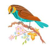 Birdie on a twig rosehip bushes — Stock Vector