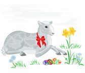 Lamb and daffodil — Stockvector