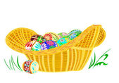Easter eggs in a basket wicker — Stock Vector