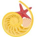 Shellfish and starfish still life — Stock Vector #43685915