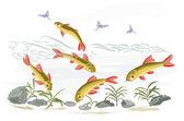 Small fish in the wild stream — Stock Vector