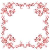 Srdce ozdoby dekorativní rám — Stock vektor