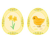 Easter eggs theme daffodil and baby chicken — Stock Vector