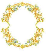 Dekoratif yuvarlak çerçeve süs çiçek klasik renk — Stok Vektör