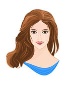 Girl with long brown hair — Stock Vector
