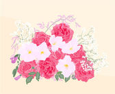 Background bouquet of roses and orchid — Stock Vector