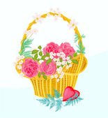 Flower cupcake greeting cards — Stock Vector