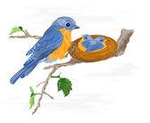 Birdie and little birds in the nest — Stock Vector