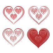 Hearts of ornaments — Stock Vector