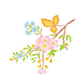 Twig shrub whit spring flowers vector without gradients — Stock Vector